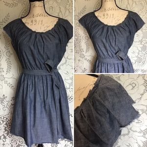Chambray, Tie Waist Dress